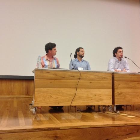 24/10. Cícero Inácio da Silva, Luís Filipe SIlvério Lima e Álvaro Malaguti. Sessão de Debates. Foto: Dália Guerreiro.